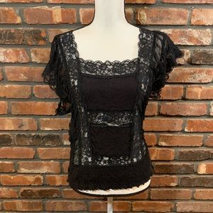 Free People Lace Flutter Sleeve Square Neck Top